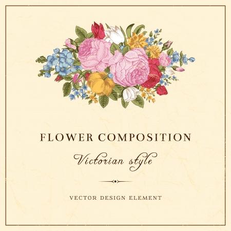 Vector vintage Hochzeitspostkarte im viktorianischen Stil Illustration