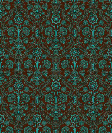 ヴィンテージ シームレス パターン花エメラルド茶色