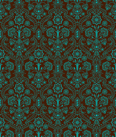 Vintage seamless pattern floral  Emerald, brown