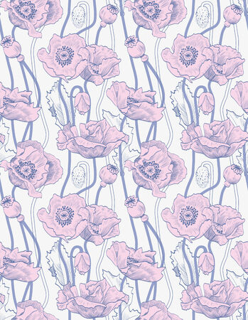 Floral pattern seamless vintage. Pink poppies Vector