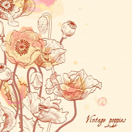 ink painting: Floral card vintage