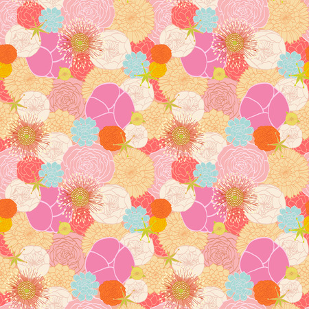 Seamless pattern from modern colorful flowers Vector