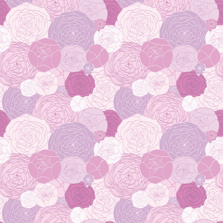 floristics: Seamless pattern from the drawn pink roses Illustration