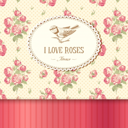 titmouse: Vintage card with roses and a titmouse