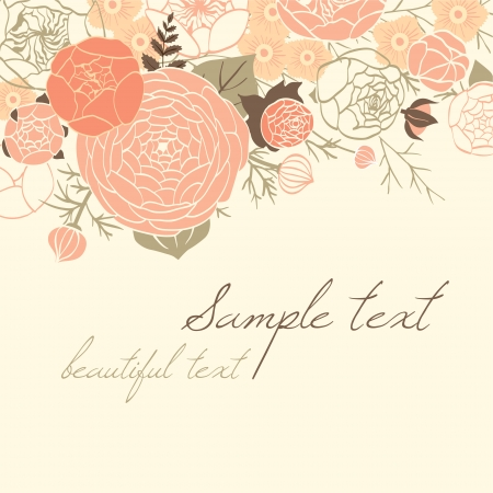 Card with modern flower composition. Beige Vector