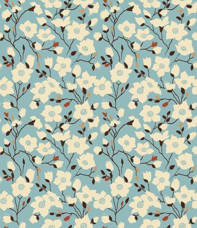 Retro a pattern with magnolia branches  Emerald Иллюстрация