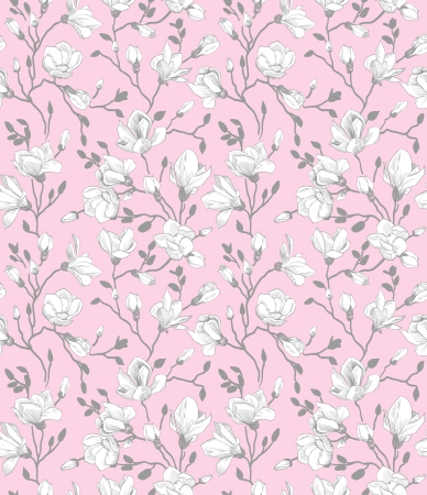 Seamless pink pattern with a blossoming magnolia Vector