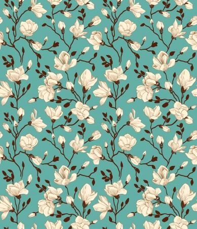 Nahtlose Muster mit smaragd einem blühenden Magnolien Vektorgrafik