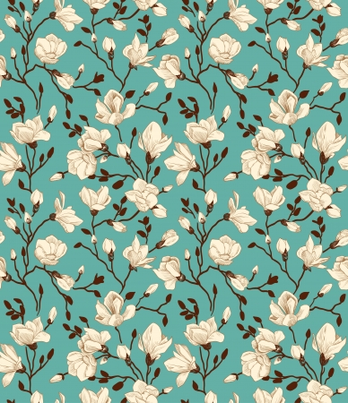Seamless emerald pattern with a blossoming magnolia