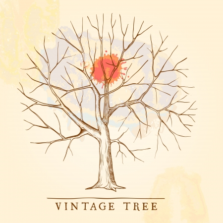 Vintage tree with a red blot Vector
