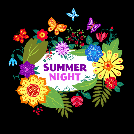 Night summer background with wild flowers Vector