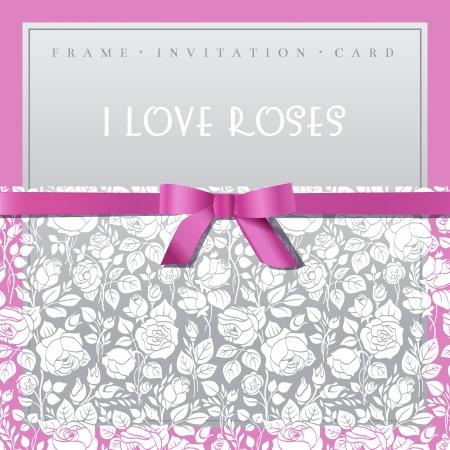 Elegant card with white garden roses Иллюстрация