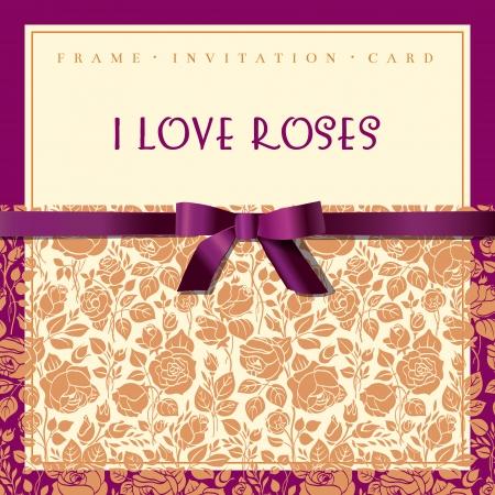 Elegant card with gold garden roses