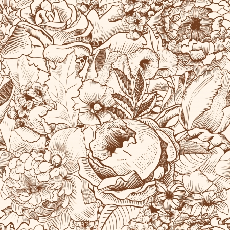 refine: Seamless pattern with lush flowers. Beige, brown