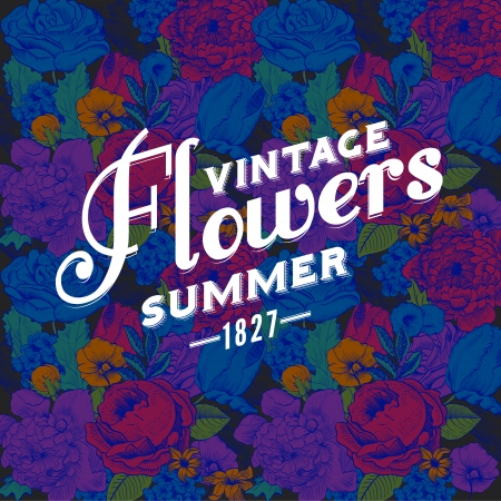 Seamless vintage pattern with colorful lush colors