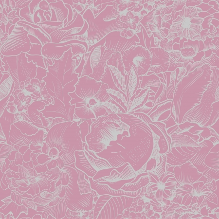Seamless vintage pattern with lush flowers. Pink, Silver Vector