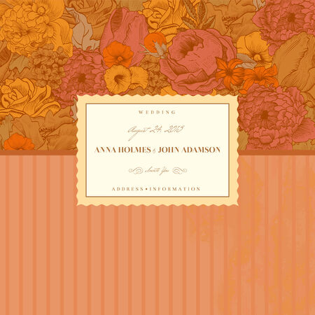 Vintage card with lush flowers Vector