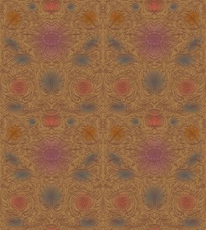 dark beige: Vintage brown seamless pattern baroque Illustration