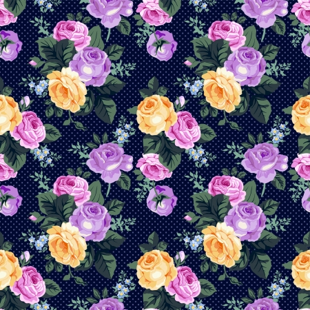 royal blue: Seamless pattern with vintage roses