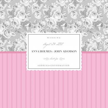 Pink card for a wedding with an elegant gray background of roses