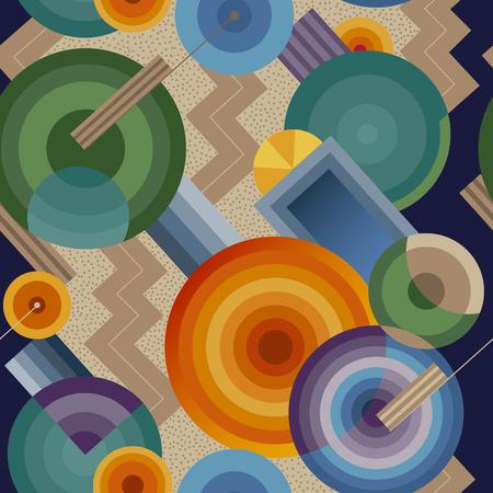 レトロなスタイルでシームレスな幾何学模様  イラスト・ベクター素材