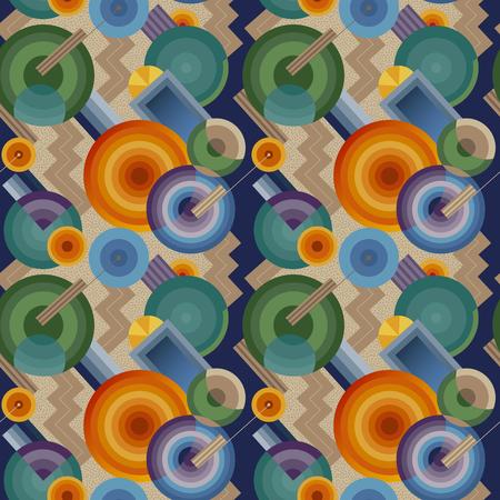レトロなスタイルでシームレスな幾何学的なパターン  イラスト・ベクター素材
