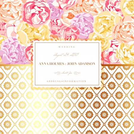 Card with flowers and gold elements Vector