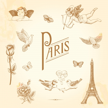 Set of vector vintage elements for design. Paris, love, romance. Butterflies, cupids, roses, birds, Eiffel Tower. Illustration