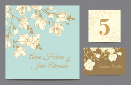 wedding guest: Set backgrounds to celebrate the wedding. Invitation card, table number, guest card. Vector illustration. Vintage mint with a brown background with a branch of magnolia blossoms. Illustration