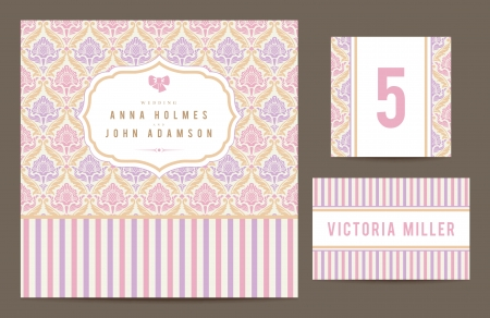 Set backgrounds to celebrate the wedding. Invitation card, table number, guest card. Vector illustration. Romantic pastel card with ornamental vintage background. Иллюстрация