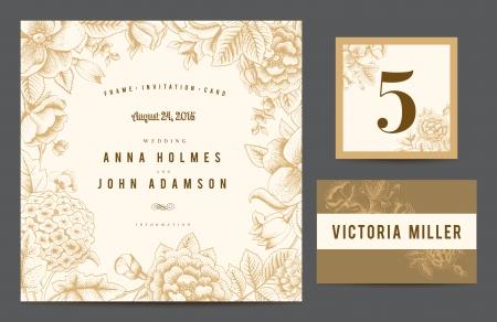 ślub: Ustawianie tła z okazji ślubu. Zaproszenie karty, numer tabeli, karta gość. Ilustracji wektorowych. Kwiaty róże, pies, róża hortensja w kolorze beżowym.
