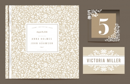 Invitation card, table number and guest card Vector