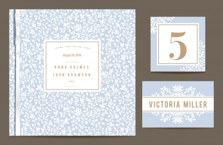 Set backgrounds to celebrate the wedding. Invitation card, table number, guest card. Vector illustration. Blue background with white silhouettes of small flowers. Vector