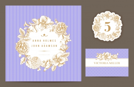 Invitation card, table number and guest card.  Иллюстрация