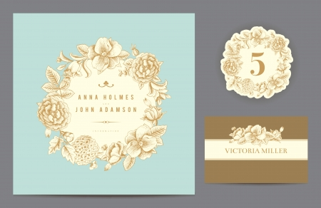 Invitation card, table number and guest card.  Ilustração