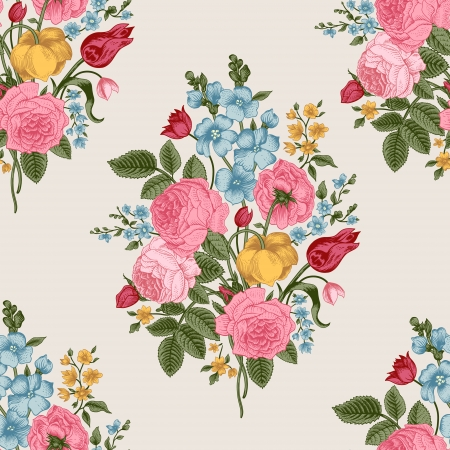 Seamless pattern with Victorian bouquet of colorful flowers on a gray background Illustration