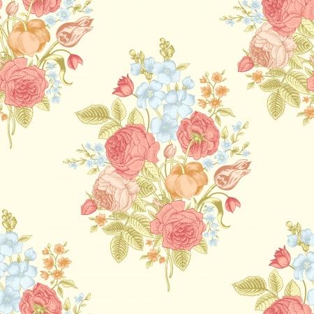 bouquet fleur: Motif vintage transparente avec bouquet victorien de fleurs colorées sur un fond jaune Illustration