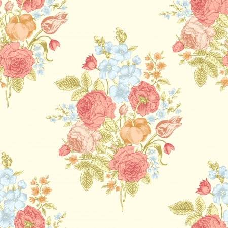 Seamless vintage pattern with Victorian bouquet of colorful flowers on a yellow background