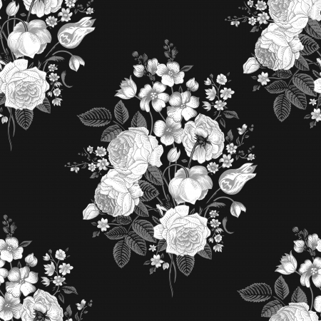 Seamless vintage pattern with Victorian bouquet of white flowers on a black background