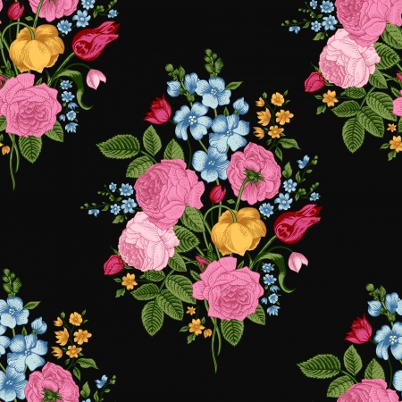 Seamless vintage pattern with Victorian bouquet of colorful flowers on a black background