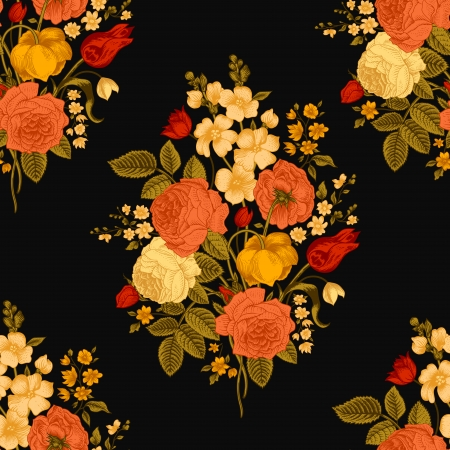 red rose: Seamless vintage pattern with Victorian bouquet of colorful flowers on a black background