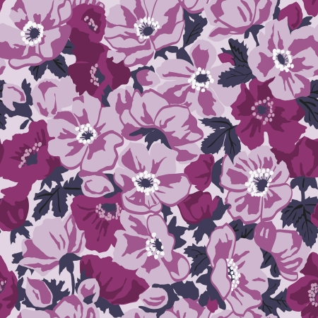 seamless floral retro pattern with pink anemones.