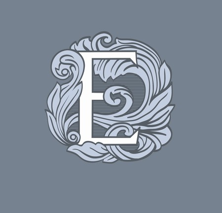 ornated: Vintage letter e in the Baroque style. Illustration