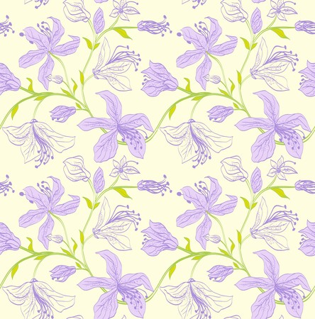 seamless floral pattern with pastel purple lilies on a beige background. Vector