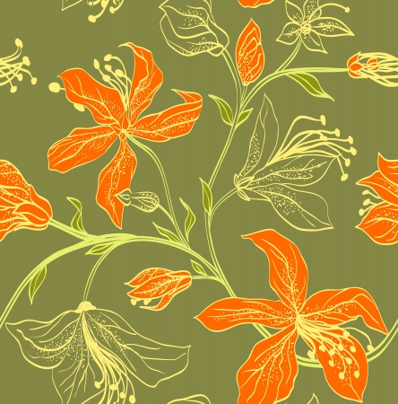 Floral seamless pattern with bright orange lilies on a green background.