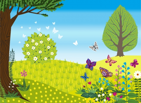 crimson: Spring retro landscape with flowers and butterflies. Illustration