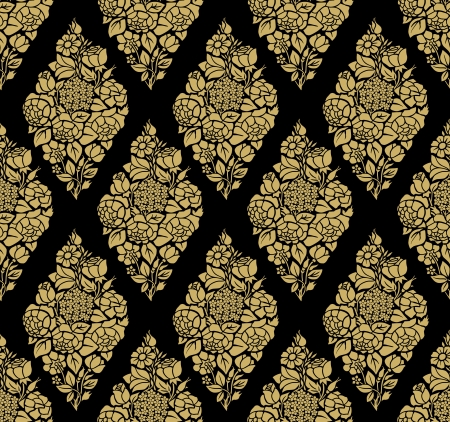 solemn: Vintage seamless background with golden luxury roses silhouettes on a black background. Illustration