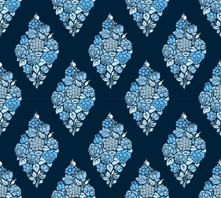 Vintage seamless luxury background with blue roses silhouettes on dark background. Vector