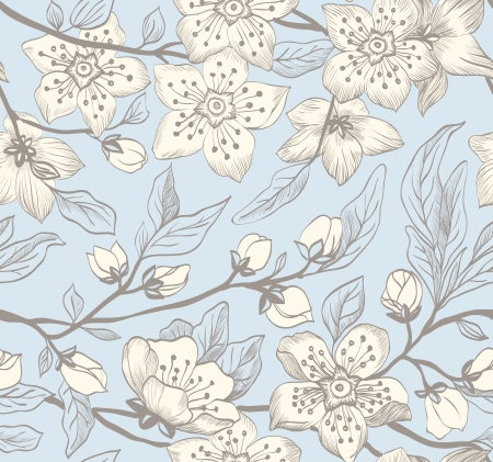 pear tree: Vintage seamless spring floral background with branches flowering Sakura on a blue background. Illustration