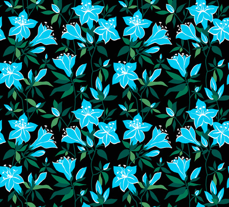 azalea: Magic seamless floral background with blue flowers on a black background azaleas.